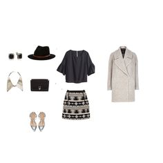 You'll nail your job interview in this classy yet trendy outfit. An oversized crop top, aztec print skirt, and oversized peacoat will add the perfect touch of class to your look. Try to this Dannijo collar for some fun flair! #ootd #dannijo #fallstyle #inspiration #outfitgrid
