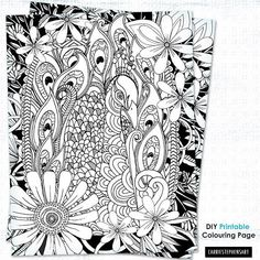 Adult Colouring Printable Coloring Page Peacock Coloring Page for adults by Carrie StephensArt1 on Etsy