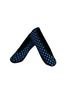 BLACK BLUE POLKA DOTS FLAT NUFOOT