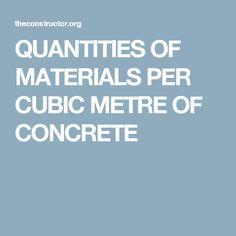 QUANTITIES OF MATERIALS PER CUBIC METRE OF CONCRETE