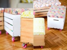 Toybox with wheels and cushion on top for seat.