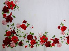 Vintage Wilendur Tablecloth Red Floral Wilendure by VintageLinens