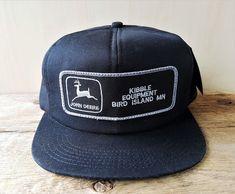 Vtg JOHN DEERE Kibble Equipment Black Trucker Hat Snapback Cap K Products USA  #KProducts #BaseballCap