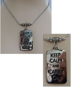 Silver Keep Calm & Carry On Pendant Necklace Jewelry Handmade NEW Adjustable  #handmade #Pendant