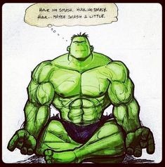 maybe just a little? | Hulk Meditating for Self-Control | 8-Bit Nerds /Tapas