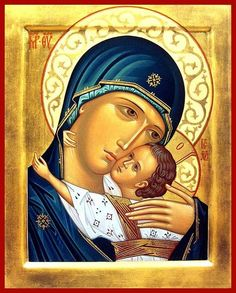 Madonna Enthroned Christian Art by Carol Jackson Religious Images, Religious Icons, Religious Art, Madonna Und Kind, Madonna And Child, Byzantine Icons, Byzantine Art, Blessed Mother Mary, Divine Mother