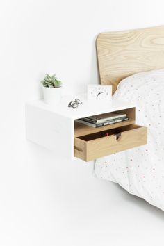 White floating nightstand drawer in solid oak mid century modern - Handcrafted floating bedside table with drawer / drawers mid century style. The bedside table is de - Floating Drawer, Floating Nightstand Ikea, Nightstand Ideas, Unique Bedside Tables, Small Nightstand, Floating Table, Floating Wall Shelves, Home Bedroom, Bedroom Decor