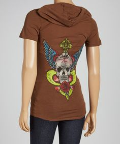 Brown Skull Rose Hooded Tee by Escio (OTHER COLORS AVAILABLE)