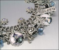 Silver Charm Bracelet, Wiccan Jewelry, The Wicked Witch of the West, Wiccan Charm Bracelet. $87.00, via Etsy.
