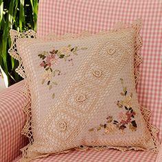 Handmade Vintage Cream Pillow Crocheted Throw Pillow Flower Pattern Crochet Pillow Insert Included Size 18 X 18 Inch Crochet Pillow Pattern, Crochet Cushions, Granny Square Crochet Pattern, Crochet Patterns, Tambour Embroidery, Silk Ribbon Embroidery, Hand Embroidery, Embroidery Designs, Crochet Projects