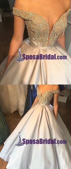 Champagne V Neck Satin Off Shoulder A-Ling Long Prom gown,Beaded Sparkly Prom Dresses,,PD0750