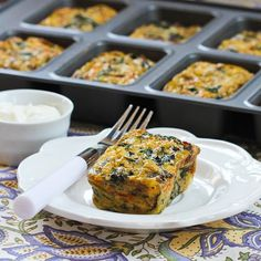 Flavorful Swiss Chard and Mushroom Squares will work for breakfast, lunch, or dinner, and this fun Meatless Monday breakfast is low-carb a. Vegetarian Recipes, Cooking Recipes, Healthy Recipes, Healthy Eats, Quiches, Bette, Swiss Chard Recipes, Veggie Dishes, Veggie Box
