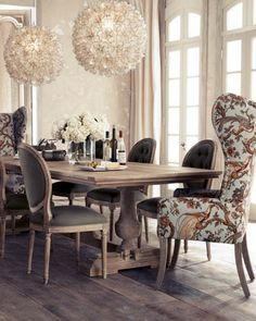 """Love the fabric on the host chairs and the modern element of the pendant lights """"Evelyn"""" Dining Table, """"Blanchett"""" Side Chair, and """"Pheasant"""" Host Chair at Horchow. Luxury Dining Room, Dining Room Design, Dining Room Table, Dining Chairs, Dining Rooms, Dining Set, Wingback Chairs, Round Dining, Upholstered Chairs"""