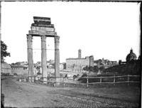 Roma - Foro Romano, Tempio dei Dioscuri, tre delle colonne del lato lungo orientale, resti dell'edificio ricostruito da Tiberio nel 6 d.C. Cronologia del fototipo sec. XIX seconda metà