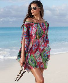 Kenneth Cole Reaction Cover Up, Boatneck Draped Sleeve Cold Shoulder Printed Tunic thestylecure.com