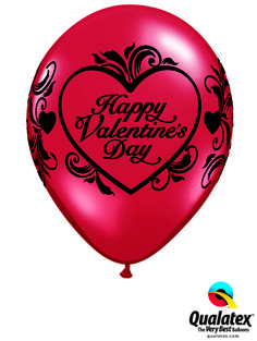 This Valentine's Filigree latex balloon in Ruby Red is delicate and elegant for Valentine's Day. #qualatex