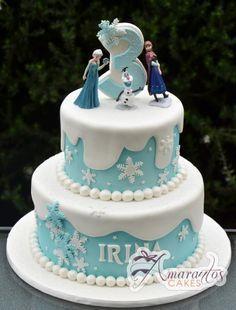 Two Tier Frozen Cake Ac275 Amarantos Cakes Frozen Cake Frozen Birthday Cake Elsa Birthday Cake Frozen Theme Cake