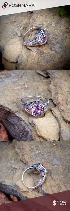 Solid sterling silver color changing sapphire ring Amazing color changing sapphire changes from pink to lavender to magenta in a vintage style solid sterling silver setting. Jewelry Rings
