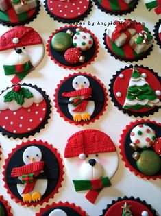 Set of Christmas toppers by CakesbyAngela on Etsy, $75.00