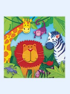 Amscan Jungle Animal Luncheon Napkins 16/Pack Birthday Party Tableware New