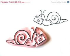 Snail Mail Hand Carved Stamp, Snail Mail Rubber Stamp. $9.29, via Etsy.