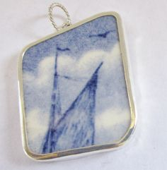 Blue Broken China Necklace Pendant  Chaney Top of Sailboat Sailing by MaroonedJewelry on Etsy