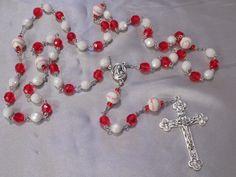 Baseball Rosaries - Czech White & Red or Black and Green Glass Beads - Ceramic Baseballs - Italian Centers - Italian Silver Crucifixes