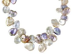 White Peach Lavender Cultured Freshwater Keshi Pearl Sterling Silver 18 Inch Necklace $79.99, strung.  They appear huge in the video.