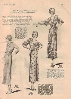 Long lined, lovely fashions from a 1933 edition of Home Chat magazine. #vintage #1930s #fashion