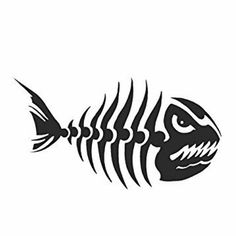 DECAL ONLY *** PLEASE NOTE **** Vinyl is one color and will come cut in color specified. When the decal is applied, the background will be replaced by whatever you apply the vinyl to. Custom Decals, Vinyl Decals, Wall Vinyl, Rib Cage Drawing, Scary Fish, Fishing Humor, Fishing Tips, Fishing Knots, Fishing Lures