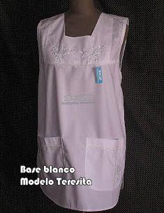 Guardapolvos Artesanales: Falderos Base Blanco Scrubs, Work Wear, Apron, Athletic Tank Tops, How To Wear, Ideas Para, Outfits, Clothes, Bb