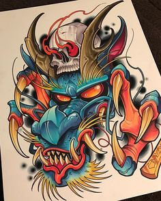 Japanese Dragon Demon With Human Skull Sketch Tattoo Design, Tattoo Sketches, Tattoo Drawings, Body Art Tattoos, Small Tattoos, Hanya Tattoo, 4 Tattoo, Tattoo Shop, Japanese Tattoo Art