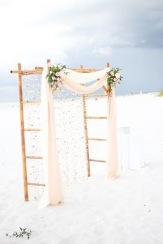 Rustic Romantic Bamboo Wedding Arch with Seashells