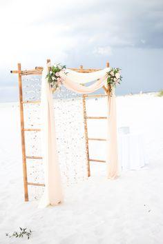 Rustic Romantic Bamboo Wedding Arch with Seashells