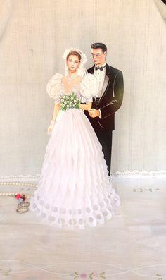 Bride and Groom Art Tissue Centerpiece, Beistle Bridal Table Centerpiece, Bridal…