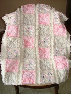 SALEShabby Chic Crib/Toddler Quilt Rag Quilt in by mymaroonangel, $129.95