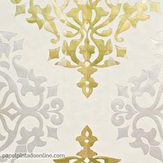 Papel pintado flock 4 95691 5 papel de fondo turquesa con for Papel pintado color plata