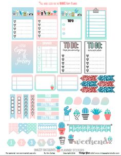 Free planner stickers printable for the Classic Happy Planner or other similar planners. Free for personal non-commercial use only. To Do Planner, Planner Layout, Free Planner, Planner Pages, Happy Planner, 2015 Planner, Blog Planner, Planner Tumblr, Planner Bullet Journal