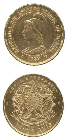 BRAZIL Republic, Gold Liberty head left, rev arms of the… Saving Coins, Gold Bullion Bars, Foreign Coins, Coin Display, Gold Money, Gold Stock, Gold And Silver Coins, World Coins, Coin Jewelry