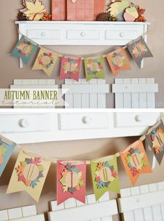 Autumn Banner Tutorial - Use your Cricut and Cuttlebug to create this fun Autumn Banner. Fall Projects, Diy Craft Projects, Diy Crafts, Craft Ideas, Diy Ideas, Decor Ideas, Thanksgiving Crafts, Fall Crafts, Fall Banner