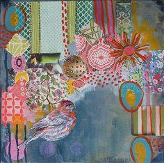 House Finch by Jennifer Drummond Ferris Mixed Media ~ 9 x 9