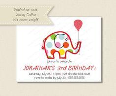 Kids BIRTHDAY PARTY INVITATIONS  polka dot elephant invitation on Etsy, $21.70