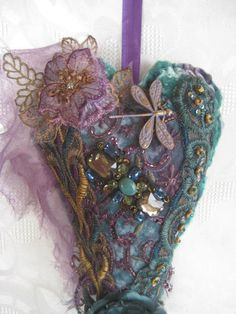 Hanging heart silk velvet peacock shades by JenniesHeirlooms