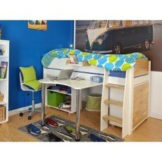 The stylish Urban midsleeper comes complete with ample storage space, perfect for those with limited floor space. With a useful 3 drawer chest for extra clothes space and also a low bookcase is included, great for displaying all your favorite items. There is even a place to study or play at thanks to a fixed desk.   Designed with children in mind, Kids Avenue have created the Urban 8 Midsleeper with wide steps and hand holes on the ladder, to making climbing up and down from bed easier…