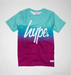 This Hype shirt features a turquoise and maroon fade design with the Hype branding on the front.