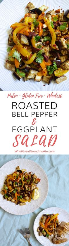 This paleo  vegan roasted bell pepper  eggplant salad is a delicious and healthy way to enjoy your vegetables!