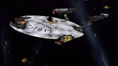 "The severely damaged USS Constellation from the TOS episode, ""The Doomsday Machine""."