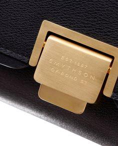 Black leather shoulder bag- detail