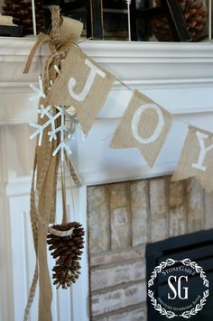 Love the way they attached the banner to the mantle with a little something extra.