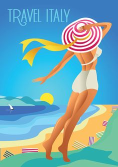 Beautiful woman in a wide-brimmed hat on a tropical beach. vector art illustration